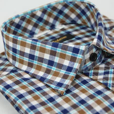 【金安德森】藍棕格紋保暖窄版長袖襯衫