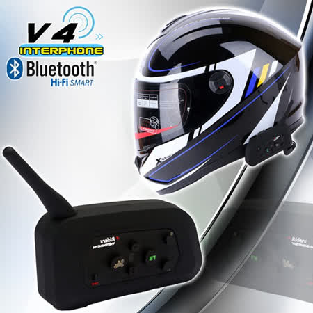 【V4 interphone 】外掛式安全帽藍芽耳機│日本熱銷款│高階機種│支援四方通話│支援無線電對講V5s BK-2