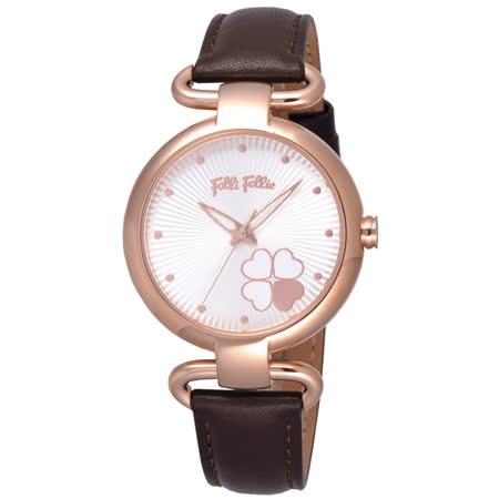 Folli Follie 專屬小幸運時尚女錶-玫瑰金框白x深咖啡皮帶