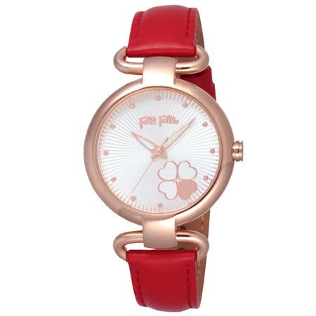 Folli Follie 專屬小幸運時尚女錶-玫瑰金框白x紅色皮帶