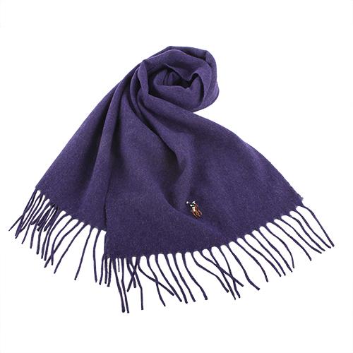 RALPH LAUREN POLO  小彩馬LOGO素面羊毛圍巾-紫色