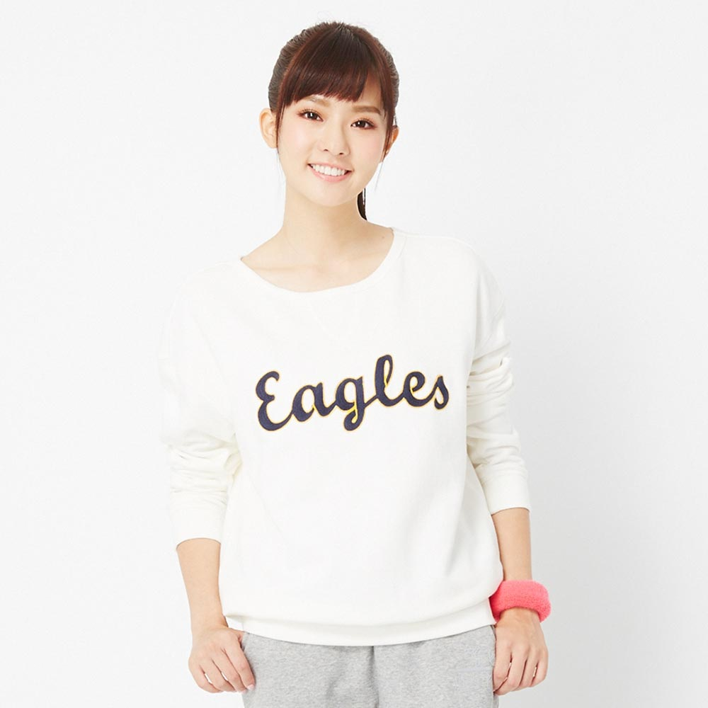 TOP GIRL~Eagles繡線英文字圓領長袖上衣 ~白