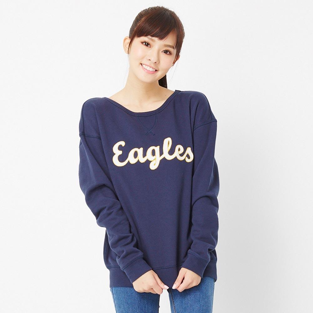 TOP GIRL~Eagles繡線英文字圓領長袖上衣 ~藍