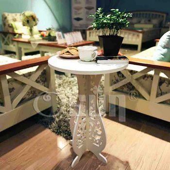 Osun DIY木塑板白色巴洛克經典款 小圓桌