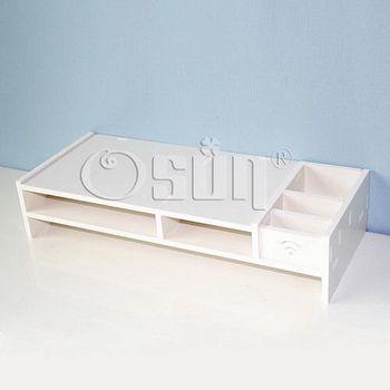 Osun DIY木塑板置物架歐式白色文具盒電腦墊桌-低 GJ-ZGJ02