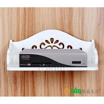 Osun DIY木塑板歐式白色雕花電話掛架 電話掛架