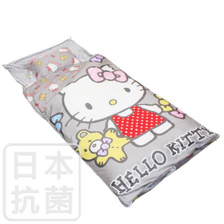 【鴻宇HongYew】美國棉/精梳棉/台灣製/兒童抗菌寢具/兩用睡袋/Hello Kitty/哈尼小熊系列(灰)