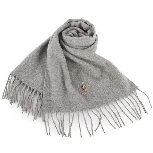 RALPH LAUREN POLO  小彩馬LOGO素面羊毛圍巾-灰色