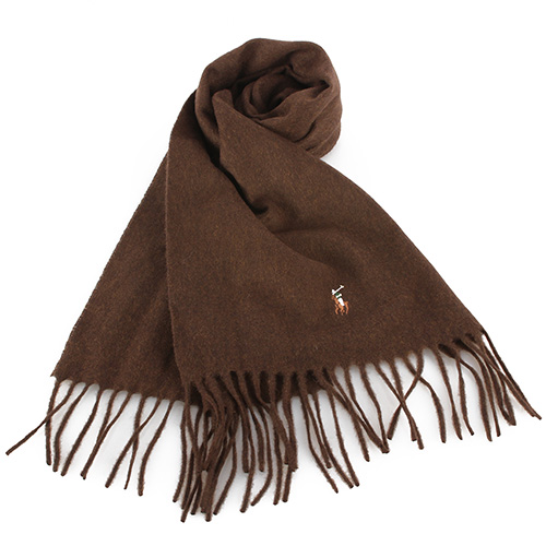 RALPH LAUREN POLO  小彩馬LOGO素面羊毛圍巾-褐色