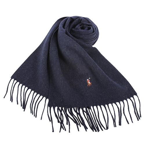 RALPH LAUREN POLO  小彩馬LOGO素面羊毛圍巾-深藍色