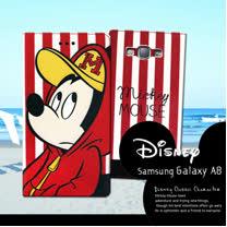 迪士尼授權正版 Samsung Galaxy A8 A800YZ 潮流條紋磁力皮套(帽T米奇)