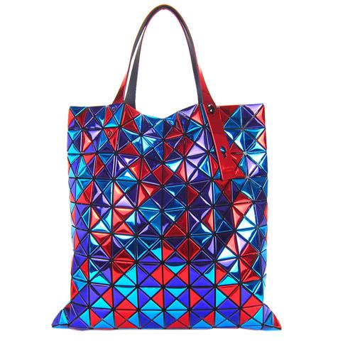 ISSEY MIYAKE 三宅一生BAOBAO鏡面三色方格10x10肩背包(藍紫紅)