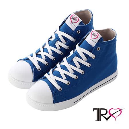 【TRS】增高7cm經典款休閒氣墊高筒帆布鞋 藍(7100-0013)