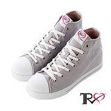 【TRS】增高7cm經典款休閒氣墊高筒帆布鞋 灰(7100-0014)
