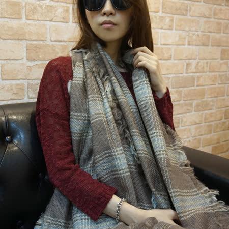 【Lus.G】英倫街頭細格紋混色圍巾-共4色