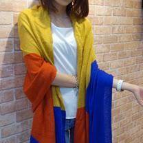 【Lus.G】日系古著撞色針織圍巾-共4色