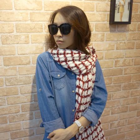 【Lus.G】鏤空勾織粗毛線格紋圍巾-共4色