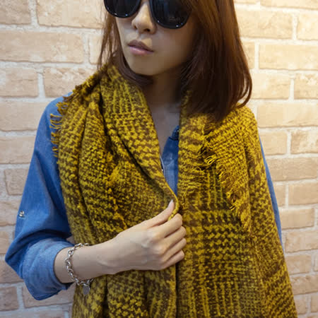 【Lus.G】英式粗針勾織千鳥紋厚圍巾-共4色
