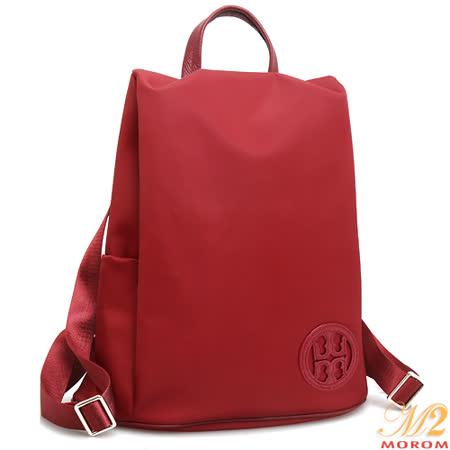 【MOROM】真皮品牌時尚摩登後背包(紅色)227