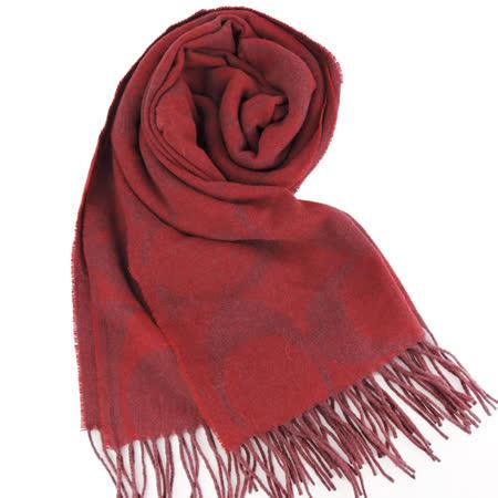 COACH 經典LOGO流蘇羊毛混絲圍巾(紅)