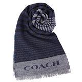 COACH 不規則雙色條紋羊毛圍巾(黑藍)