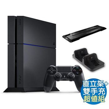 SONY PS4主機 1207型 1TB+副廠雙手充(DOBE)+副廠黑直立架 1TB