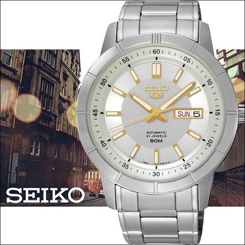 SEIKO 精工5號盾牌 大三針日曆男用機械錶~銀x金時標43mm7S26~04E0Y^(