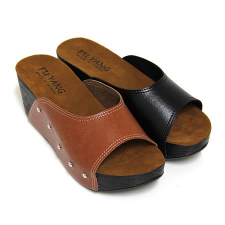 【Pretty】極簡素面木質紋厚底拖鞋