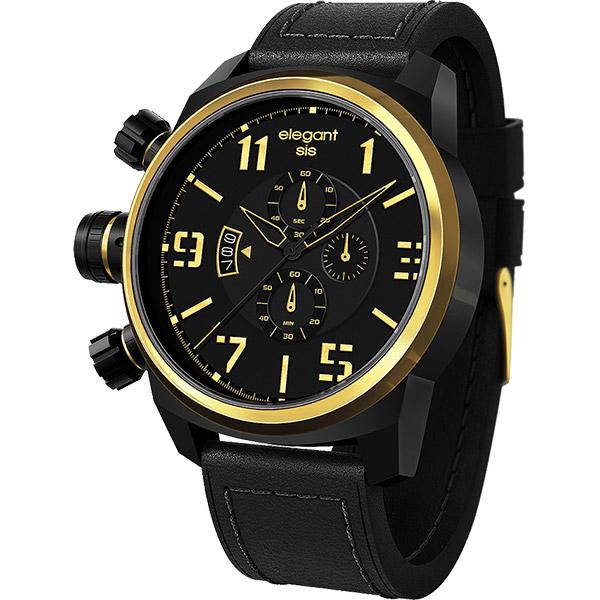 elegantsis Army 叢林戰鬥強悍三眼計時腕錶-黑x金/42mm ELJT48S-OG07LC