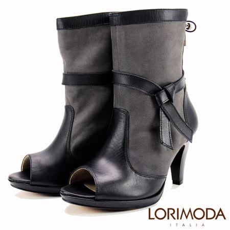【LORIMODA】 義大利手工鞋 性感魚口靴面撞色皮革中跟中統靴真皮防滑底 FORLI.35(深灰)