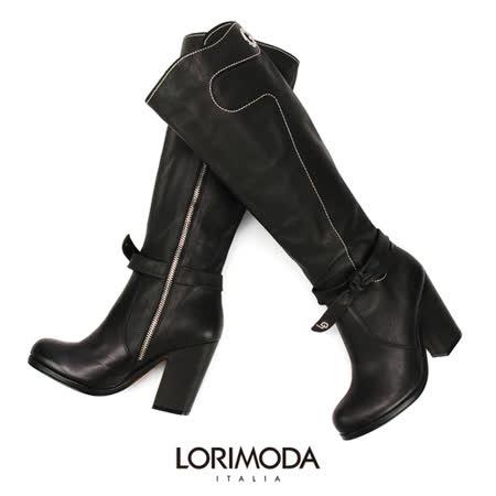【LORIMODA】 義大利手工鞋 蝴蝶結皮革高統馬靴真皮防滑底 MEAGAM.1(黑色)
