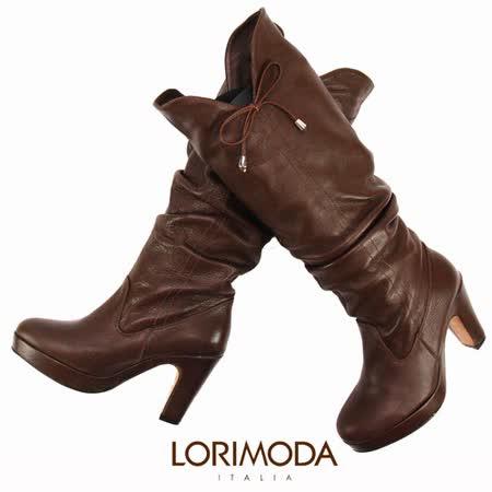 【LORIMODA】 義大利手工鞋 鞋口V造型搭手工抓皺皮革高跟高統靴真皮防滑底 FLORA.8(深咖啡)
