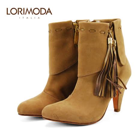 【LORIMODA】 義大利手工鞋 反摺鞋口外側流蘇皮革飾高跟中統靴真皮防滑底 VENICE.16(駝色)