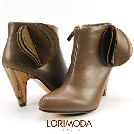 【LORIMODA】 義大利手工鞋 外側千層圓皮革飾高跟中統靴真皮防滑底 VENICE.26(灰棕色)