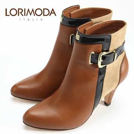 【LORIMODA】 義大利手工鞋 混搭風範皮革中統靴高跟真皮防滑底 VENICE.45(栗色)