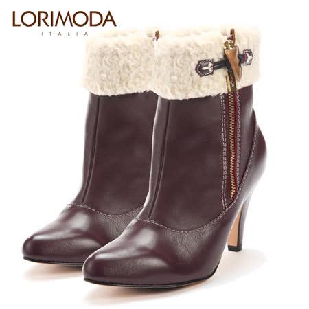 【LORIMODA】 義大利手工鞋 毛毛 口外側拉鍊中統高跟真皮防滑底 VENICE.48(紫色)