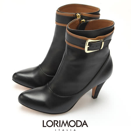 【LORIMODA】 義大利手工鞋 撞色帶釦皮革中統靴高跟真皮防滑底 VENICE.50(黑色)
