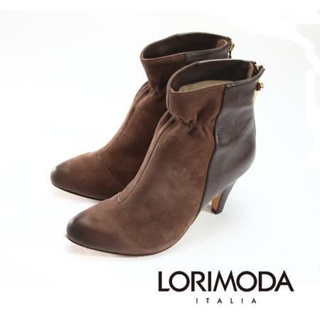 【LORIMODA】 義大利手工鞋 束口雙調皮革中統靴高跟真皮防滑底 VENICE.51(棕色)