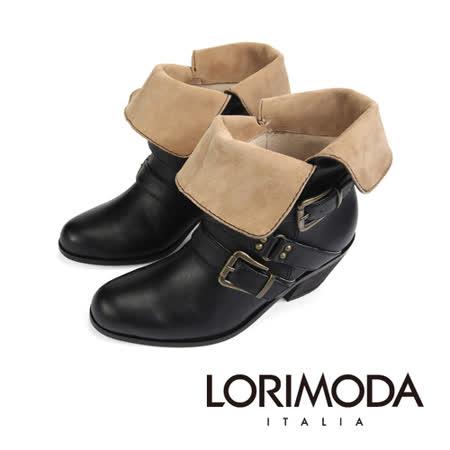 【LORIMODA】 義大利手工鞋  絨皮面翻領仿軍低統皮革靴低方跟真皮防滑底 APRILIA.5(黑色)