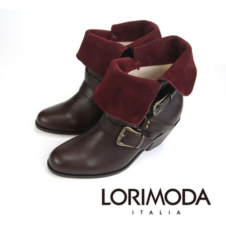 【LORIMODA】 義大利手工鞋  絨皮面翻領仿軍低統皮革靴低方跟真皮防滑底 APRILIA.5(棕色)
