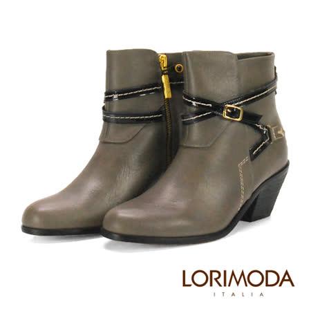 【LORIMODA】 義大利手工鞋 軍統素面交叉腳背低跟低統真皮防滑底 APRILIA.6(深灰)