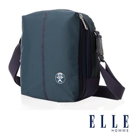 ELLE HOMME 時尚巴黎風格 直立多層置物側背包 輕量防潑水設計-藍EL83469-08