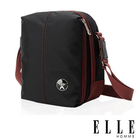 ELLE HOMME 時尚巴黎風格 直立多層置物側背包 輕量防潑水設計-黑EL83469-02