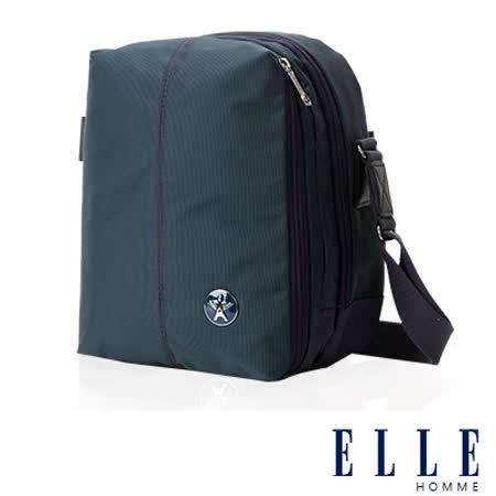 ELLE HOMME 時尚巴黎風格 直立多層置物側背包(大) 輕量防潑水設計款-藍EL83467-08