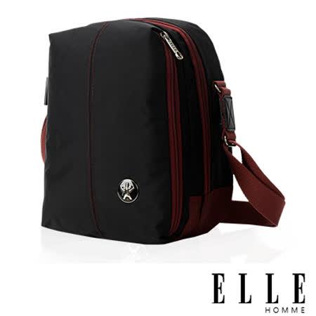 ELLE HOMME 時尚巴黎風格 直立多層置物側背包(大) 輕量防潑水設計款-黑EL83467-02