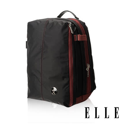 ELLE HOMME 時尚巴黎風格14吋筆電扣層休閒後背包 輕量防潑水設計款-黑EL83841-02