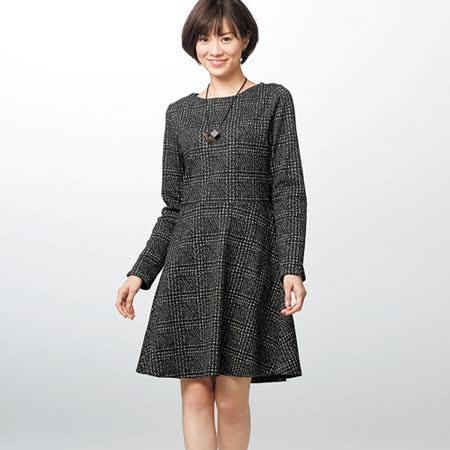 日本Portcros 現貨-格紋長袖連身洋裝(LL)