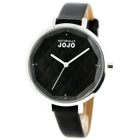 NATURALLY JOJO 璀璨菱格鏡面仕女腕錶-黑