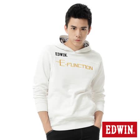 EDWIN E-FUNCTION繡花連帽T恤-男-白色