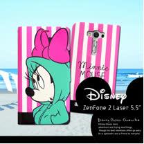 迪士尼授權正版 ASASUS Zenfone 2 laser 5.5吋 ZE550KL 潮流條紋磁力皮套(帽T米妮)